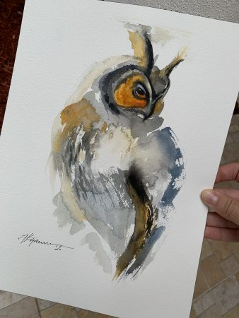 Watercolor Owl Katerina Krjanina Watercolor Birds Collection